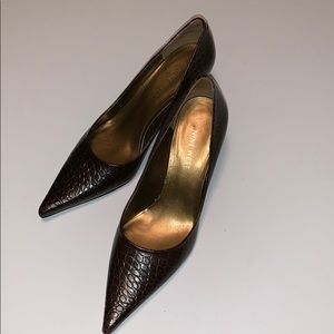 Nine West Nuncio Reptile Print Leather Heels